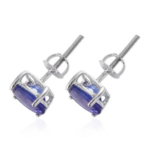 ILIANA 18K W Gold AAA Tanzanite (Ovl) Stud Earrings (with Screw Back) 2.000 Ct.