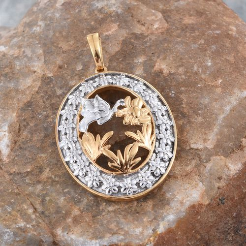 Yellow Gold and Platinum Overlay Sterling Silver Butterfly Pendant, Silver wt 5.00 Gms.