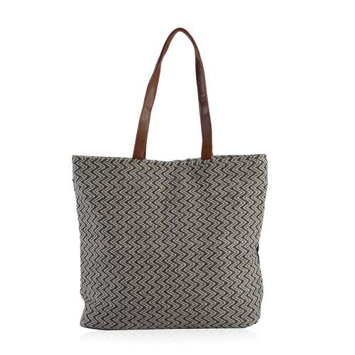 Black, Off White and Multi Colour Jacquard Tote Bag (Size 45x40x10 Cm)