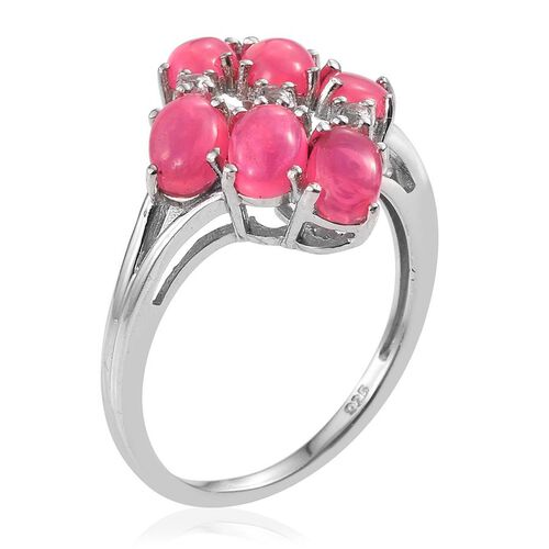 Pink Ethiopian Opal (Ovl 1.90 Ct), White Topaz Ring in Rhodium Plated Sterling Silver 2.000 Ct.