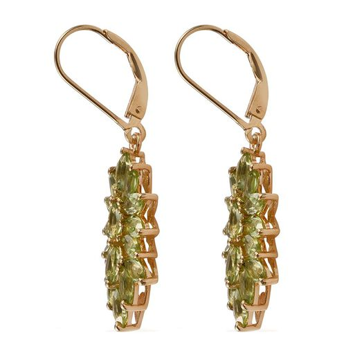AA Hebei Peridot (Mrq) Lever Back Earrings in 14K Gold Overlay Sterling Silver 5.250 Ct.
