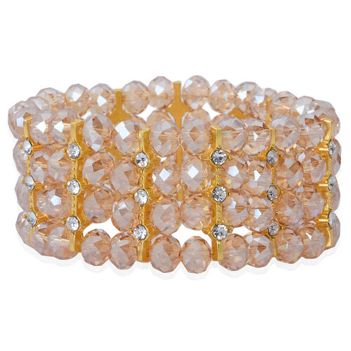 Simulated Champagne Diamond and White Austrian Crystal Bracelet (Size 7.5) in Gold Tone