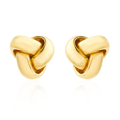 ILIANA 18K Yellow Gold Triple Knot Stud Earrings (with Push Back), Gold wt 1.00 Gms.
