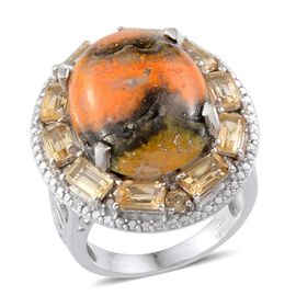Bumble Bee Jasper (Ovl 11.75 Ct), Citrine and Diamond Ring in Platinum Overlay Sterling Silver 14.700 Ct.