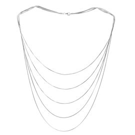 Close Out Deal Rhodium Plated Sterling Silver 5 Strand Snake Chain (Size 22), Silver wt 17.80 Gms.