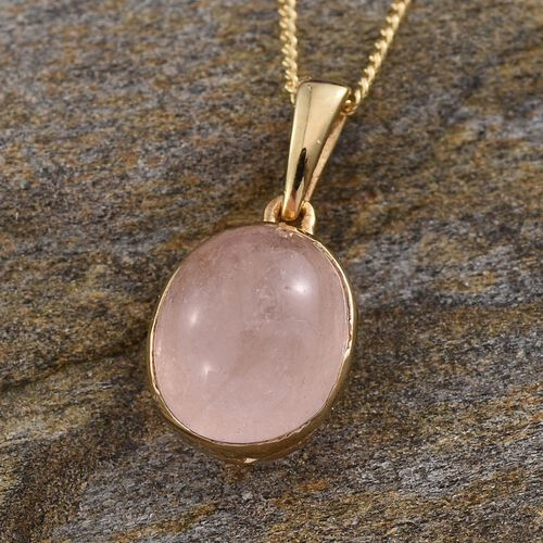 Marropino Morganite (Ovl) Solitaire Pendant With Chain in 14K Gold Overlay Sterling Silver 3.000 Ct.