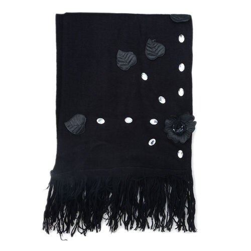 Resin Floral and Leaf Black Colour Scarf with Glass (Size 160x65 Cm)