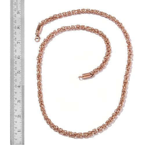 Rose Gold Overlay Sterling Silver Byzantine Necklace (Size 20 and 30) and Bracelet (Size 7.50), Silver wt 132.59 Gms.