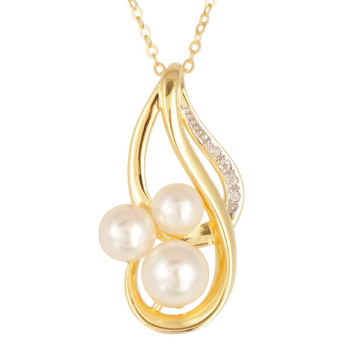Japanese Akoya Pearl (Rnd), White Topaz Pendant With Chain in Yellow Gold Overlay Sterling Silver