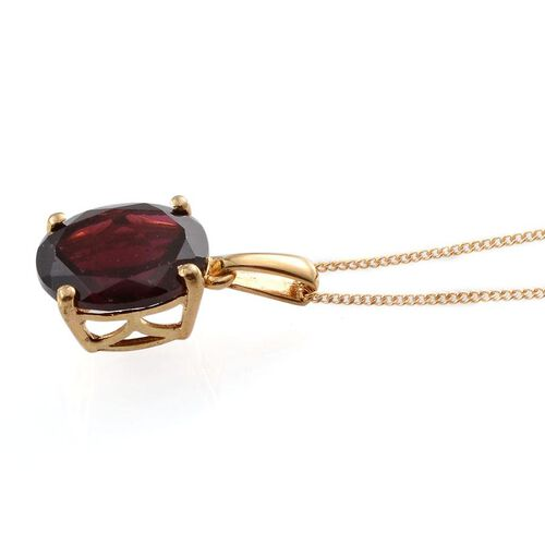 Rhodolite Garnet (Ovl) Solitaire Pendant With Chain in 14K Gold Overlay Sterling Silver 4.000 Ct.