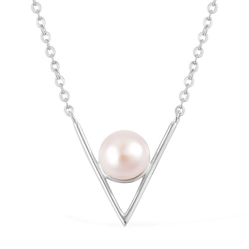Fresh Water White Pearl (8 - 9 mm) Necklace (Size 16 with 1 inch Extender) in Rhodium Plated Sterling Silver