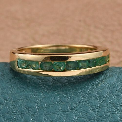 Kagem Zambian Emerald (Rnd) Half Eternity Band Ring in 14K Gold Overlay Sterling Silver 0.650 Ct.