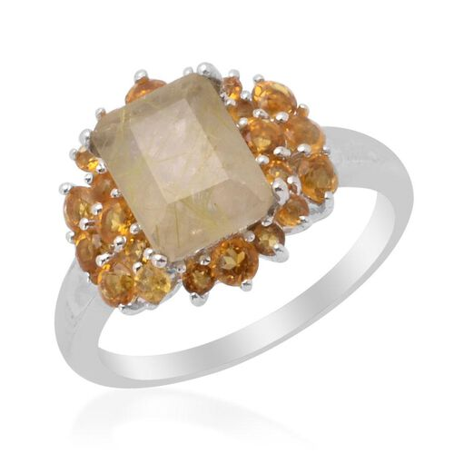 Aurelia Rutilated Quartz (Oct 2.25 Ct) Citrine Ring in Platinum Overlay Sterling Silver 3.000 Ct.
