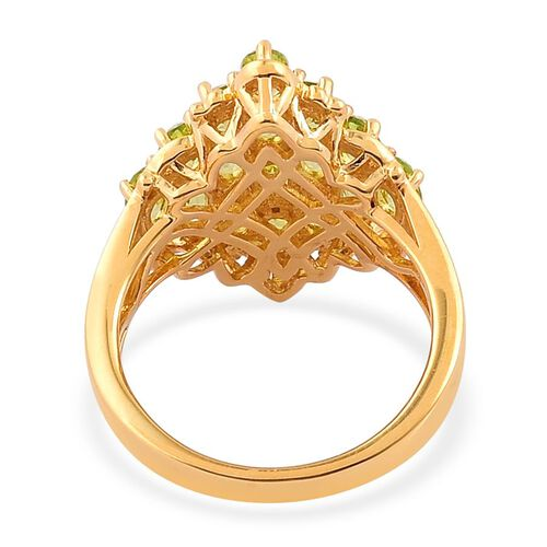 Hebei Peridot (Ovl) Cluster Ring in Yellow Gold Overlay Sterling Silver 3.500 Ct.