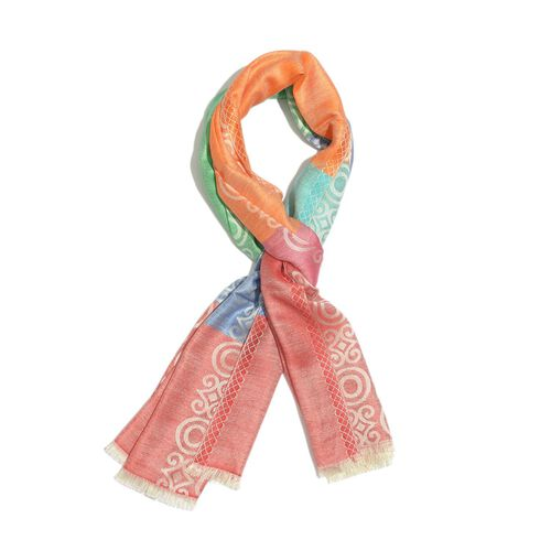 100% Modal Orange, Red and Multi Colour Jacquard Scarf (Size 190x70 Cm)