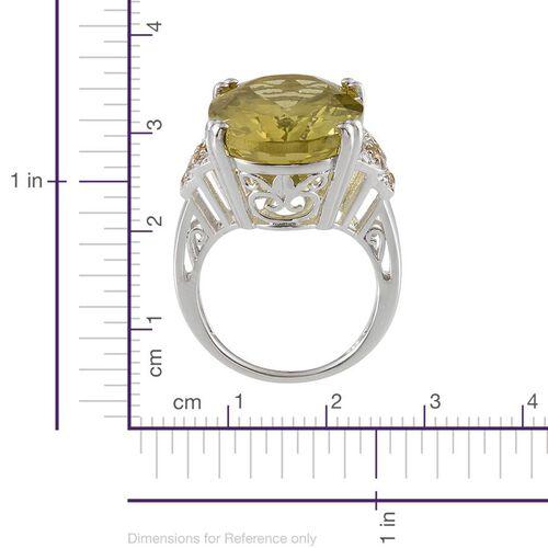 Brazilian Green Gold Quartz (Ovl 20.00 Ct), Yellow Sapphire and Diamond Ring in Platinum Overlay Sterling Silver 20.270 Ct.