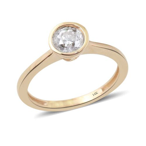 14K Y Gold SGL Certified Diamond (Rnd) (I2/ G-H) Solitaire Ring 0.500 Ct.