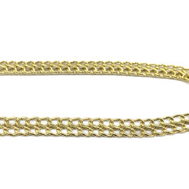 JCK Vegas Collection 9K Yellow Gold Double Curb Chain Necklace Size 17 Inch, 5.70 Gms.