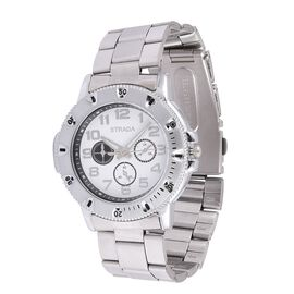 STRADA Japanese Movement White Dial Water Resistant Watch in Silver Tone with Stainless Steel Back and Chain Strap