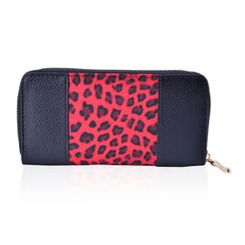 Leopard Pattern Black and Red Colour Wallet (Size 20x10x2.5 Cm)