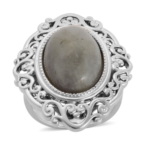 Labradorite (Ovl) Solitaire Ring in Silver Tone 11.000 Ct.