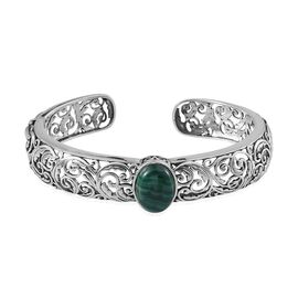 Designer Inspired Malachite (Ovl) Bangle (Size 7.5) in Sterling Silver 12.250 Ct.