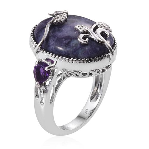 GP Purple Opal (Ovl 9.50 Ct), Amethyst and Kanchanaburi Blue Sapphire Ring in Platinum Overlay Sterling Silver 10.250 Ct.