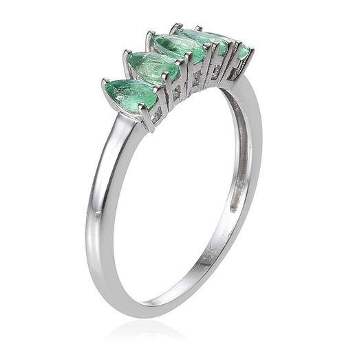 9K W Gold Boyaca Colombian Emerald (Pear) 5 Stone Ring 1.000 Ct.