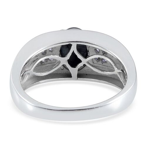 Difused Star Blue Sapphire (Ovl 2.00 Ct), Iolite Ring in Platinum Overlay Sterling Silver 2.150 Ct.