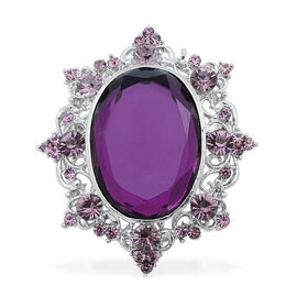 Purple Glass and Purple Austrian Crystal Brooch Or Pendant in Silver Tone