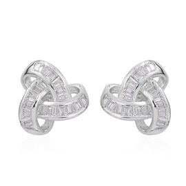 ELANZA AAA Simulated White Diamond (Bgt) Triple Knot Stud Earrings (with Push Back) in Rhodium Plated Sterling Silver