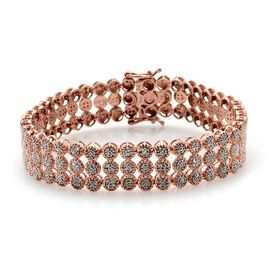 Diamond (Rnd) Bracelet (Size 7.25 with Exrender) in Rose Gold Overlay Sterling Silver 2.000 Ct.