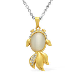 Creature Couture - Fish Pendant in ION Plated YG with Simulated White Cats Eye, Austrian Crystal with Chain in Stainless Steel