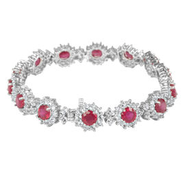 African Ruby (Rnd), White Topaz Bracelet (Size 7.5) in Rhodium Plated Sterling Silver 28.500 Ct.