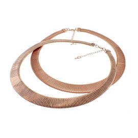 Set of 2 - Choker Necklace (Size 20 with 2 inch Extender) and Bracelet (Size 8 with 2 inch Extender) in Rose Gold Bond