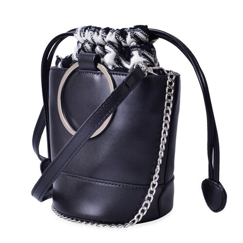 Black Colour Tote Bag With Removable Shoulder Strap (Size 18x15.5x12.5 Cm)