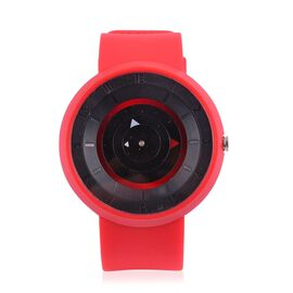 STRADA Japanese Movement Black Colour Dial Watch with Stainless Steel Back and Red Silicone Strap