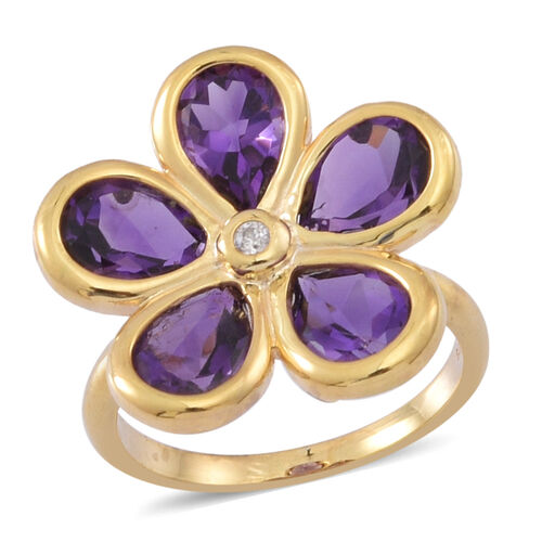 Natural Uruguay Amethyst (Pear), Natural Cambodian White Zircon Floral Ring in 14K Y Gold Overlay Sterling Silver 6.500 Ct.