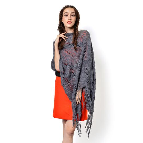 Grey Colour Knitted Poncho with Tassels (Free Size)