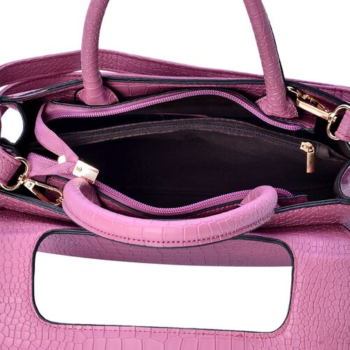 Croc Embossed Dark Rose Colour Tote Bag with Adjustable Shoulder Strap (Size 28x20x12.5 Cm)