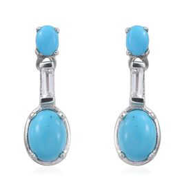 Arizona Sleeping Beauty Turquoise (Ovl), White Topaz Earrings (with Push Back) in Platinum Overlay Sterling Silver 1.750 Ct.