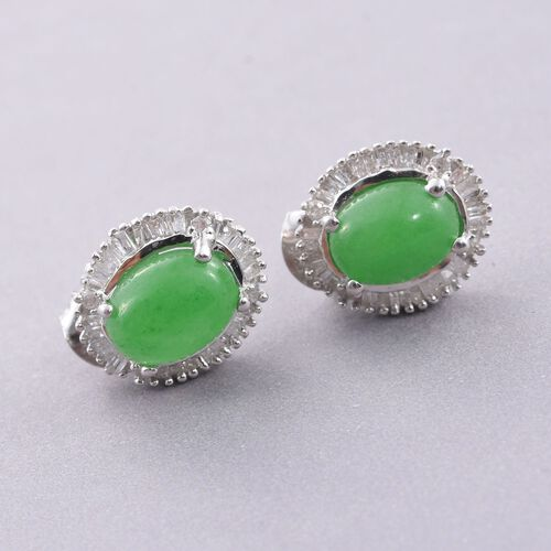 Green Jade (Ovl), Diamond Stud Earrings 0.5ct (with Push Back) in Platinum Overlay Sterling Silver 5.000 Ct.