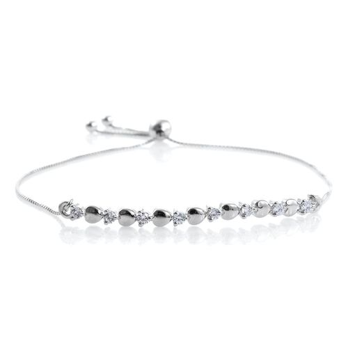J Francis - Platinum Overlay Sterling Silver (Rnd) Adjustable Heart Bracelet (Size 6.5 to 7.5) Made with SWAROVSKI ZIRCONIA