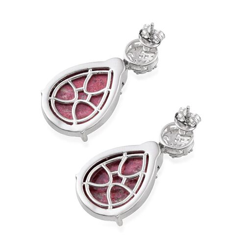 Norwegian Thulite (Pear) Earrings in Platinum Overlay Sterling Silver 28.750 Ct.