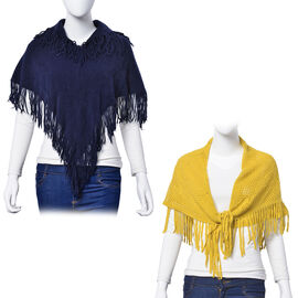 Yellow Colour Floral Pattern Scarf with Tassels (Size 75x75 Cm) and Navy Colour Poncho with Tassels (Free Size)
