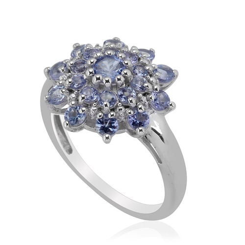 Tanzanite (Rnd) Ring in Platinum Overlay Sterling Silver  1.250 Ct.