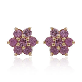 9K Y Gold Pink Sapphire (Rnd) Floral Stud Earrings (with Push Back) 1.000 Ct.