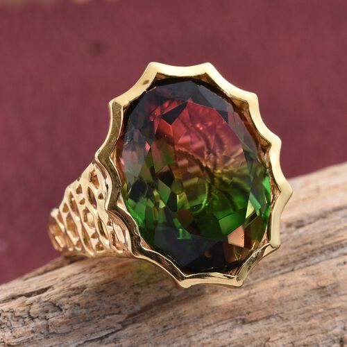 Bi-Color Tourmaline Quartz (Ovl) Ring in 14K Gold Overlay Sterling Silver 18.250 Ct.