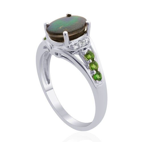 Canadian Ammolite (Ovl 1.50 Ct), Russian Diopside and White Topaz Ring in Rhodium Plated Sterling Silver 1.750 Ct.
