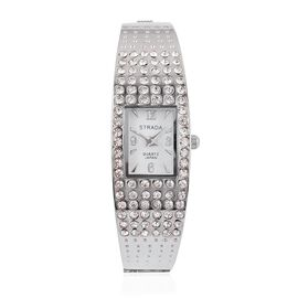 STRADA AAA Austrian Crystal Studed Bangle Watch in Silver Tone - White Dial